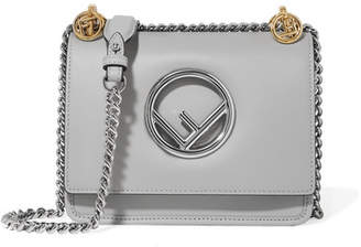 Fendi Kan I Mini Leather Shoulder Bag - Gray