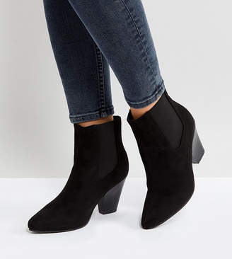 New Look Wide Fit Pointed Western Heeled Ankle Boot