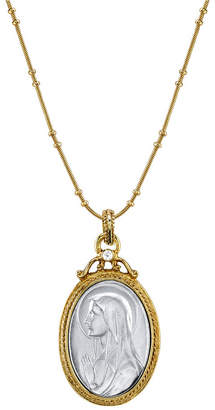 060911423d6 Symbols of Faith 14K Gold-Dipped Silver-Tone Crystal Virgin Mary Medallion  Necklace 20