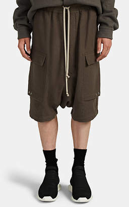 Rick Owens Men's Pod Wool Flannel Drawstring Cargo Shorts - Gray