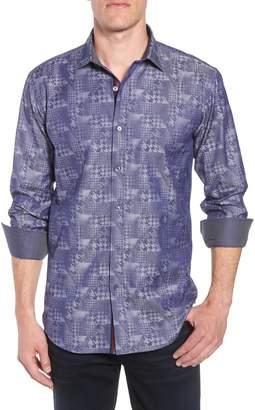 Bugatchi Shaped Fit Glen Check Sport Shirt