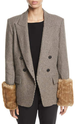 Veronica Beard Fahey Houndstooth Dickey Jacket with Faux-Fur Cuffs