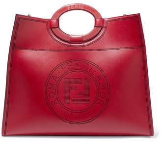 Fendi Runaway Medium Perforated Leather Tote - Red