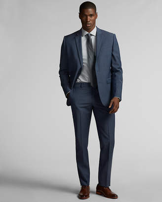 Express Slim Blue Performance Stretch Wool-Blend Suit Pant