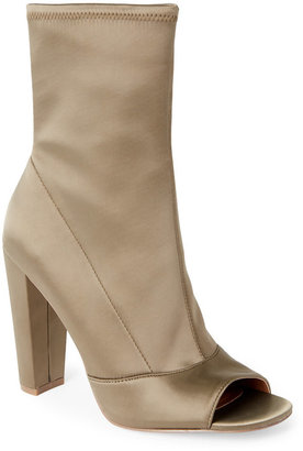 Steve Madden Green King Satin Peep Toe Booties