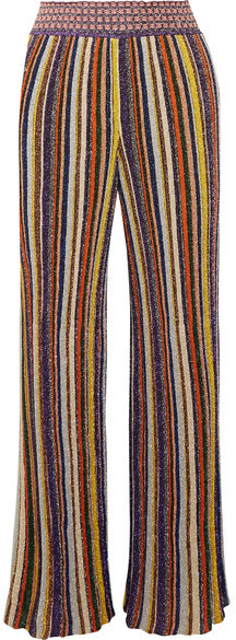 Missoni - Striped Metallic Crochet-knit Wide-leg Pants - Yellow