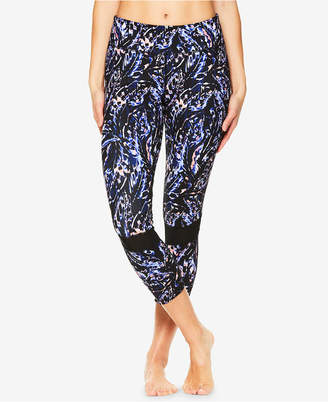 Gaiam Joelle Printed Mesh-Trimmed Capri Leggings