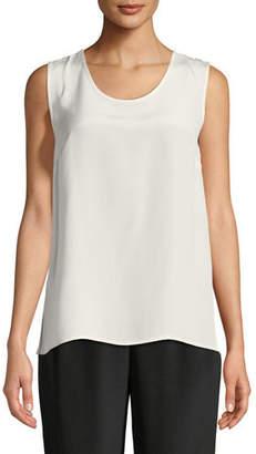 Caroline Rose Mid-Length Silk Crepe Tank Top, Petite