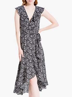 Max Studio Ditsy Floral Print Wrap Dress, Black/Ivory