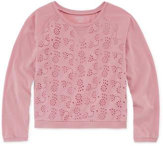 Arizona Long Sleeve Eyelet Sweatshirt - Girls' 4-16 & Plus