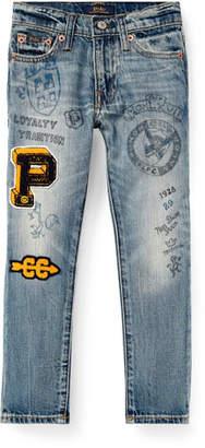 Ralph Lauren Childrenswear Sullivan Marker-Print Straight-Leg Jeans, Size 5-7
