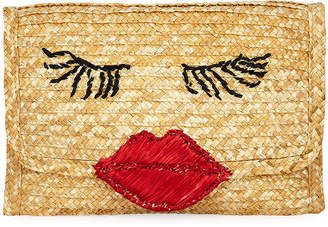Felix Rey Raffia Lips Clutch Bag
