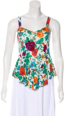 Torn By Ronny Kobo Sleeveless Floral Print Top
