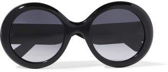 Gucci - Round-frame Glittered Acetate Sunglasses - Black $400 thestylecure.com