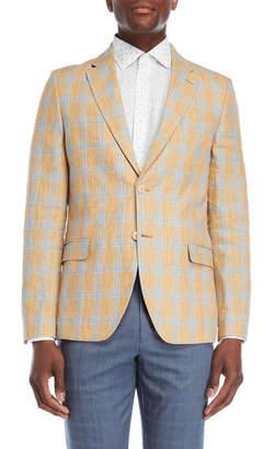Nautica Yellow Windowpane Linen Sport Coat