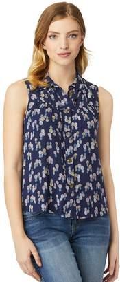 Juniors' Wallflower Sleeveless Button-Front Camp Shirt