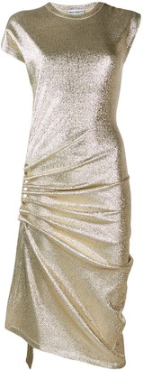 Paco Rabanne metallic ruched asymmetric dress