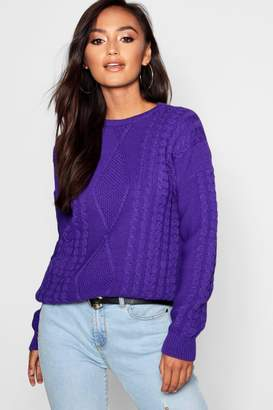 boohoo Petite Oversized Cable Knit Jumper