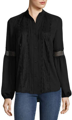 Libby Edelman Long Sleeve Lace Inset Top