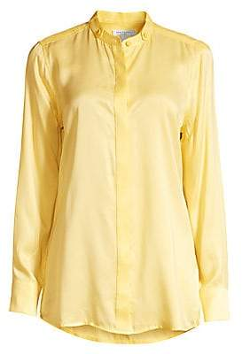 81590bf81f891c Equipment Women's Oranne Silk-Blend Mandarin Collar Blouse