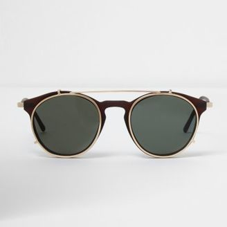 Mens Brown clip on round sunglasses