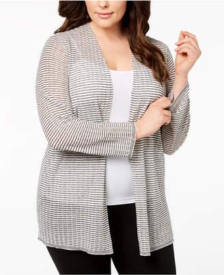 Eileen Fisher Plus Size Organic Linen Sheer Cardigan