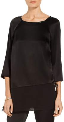 St. John Liquid Satin Asymmetric Blouse