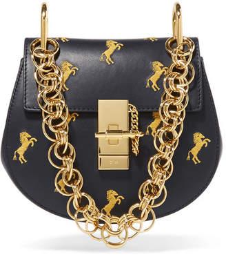 Chloé Drew Bijou Mini Embroidered Leather Shoulder Bag - Midnight blue