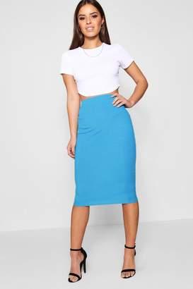 boohoo Petite Basic Midi Rib Bodycon Skirt