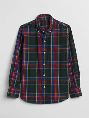 Gap Poplin Plaid Long Sleeve Shirt