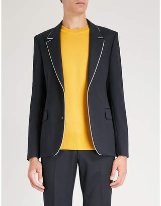 Sandro Contrast-piped slim-fit wool jacket