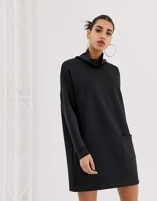 Asos Design DESIGN funnel neck scuba sweat dress with patch pocket