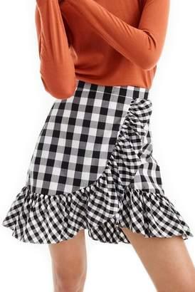 J.Crew J. Crew Pistachio Gingham Cotton Poplin Ruffle Skirt (Regular & Petite)