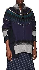Sacai Women's Fair Isle Wool-Blend Zip-Front Jacket - Navy, Navy