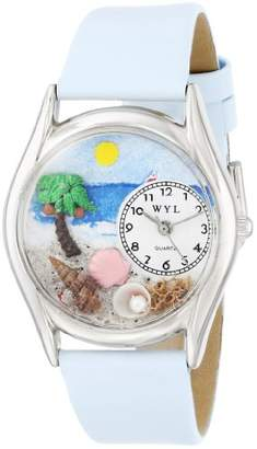 Whimsical Watches Palm Tree Baby Blue Leather and Silvertone Unisex Quartz Watch with White Dial Analogue Display and Multicolour Leather Strap S-1210010