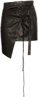 Ann Demeulemeester wrap asymmetric leather mini skirt