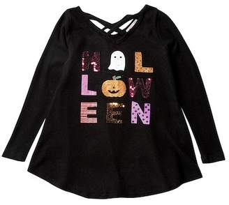 Poof Sequin Halloween Criss Cross Neck Top (Big Girls)