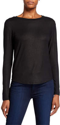Neiman Marcus Majestic Paris for Metallic Bateau-Neck Long-Sleeve Tee