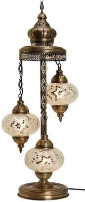 "Tiffany & Co. BOSPHORUS Turkish Moroccan Mosaic Glass Handmade Floor Lamp Light, 29.5"""