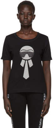 Fendi Black Metallic Karlito T-Shirt