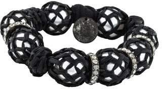 Lanvin Faux Pearl Raffia Wrapped Bracelet