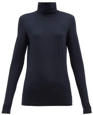Jil Sander Logo Embroidered Roll Neck Cotton Blend Top - Womens - Navy