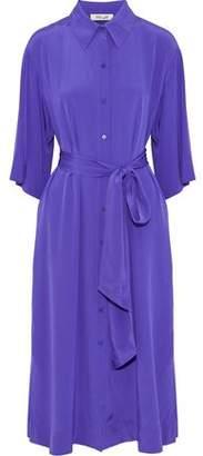 Diane von Furstenberg Belted Silk Crepe De Chine Midi Shirt Dress