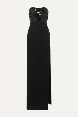 Saint Laurent Strapless Cutout Sequined Crepe Gown - Black