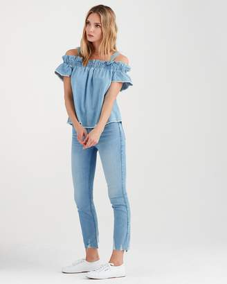 7 For All Mankind Flounce Strap Top in Soft Blue Skies