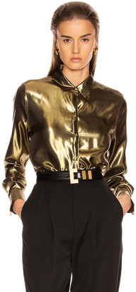Equipment Burnel Top in Metallic Gold | FWRD
