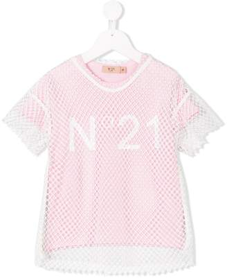 No.21 Kids layered printed T-shirt