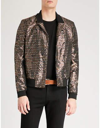 Saint Laurent Abstract-patterned fil-coupé bomber jacket