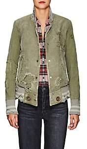 Greg Lauren Women's Army Cotton Canvas Varsity Jacket - Army