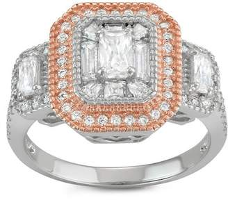 Sterling Silver Two-Tone Triple Emerald-Cut Halo Ring